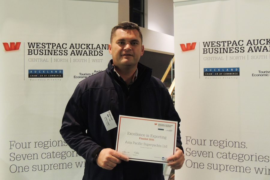 APS New Zealand Duthie Lidgard accepting Westpac Auckland NZ business award