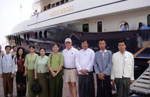 Archimedes berthed in Yangon, Myanmar