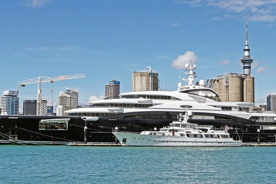 A rare glimpse of newest Fincantieri yacht Ocean Victory beside her predecessor Serene in Auckland, NZ. via @ShowboatsMag