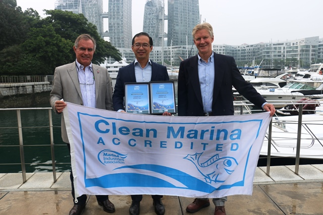 Andrew Chapman CMM, Trevor Fong CMP and Colin Bransgrove at Marina at Keppel Bay's 'Fish Friendly Marina'