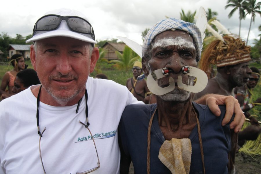 Captain Jimmy Blee with Asmat Hill Tribal member